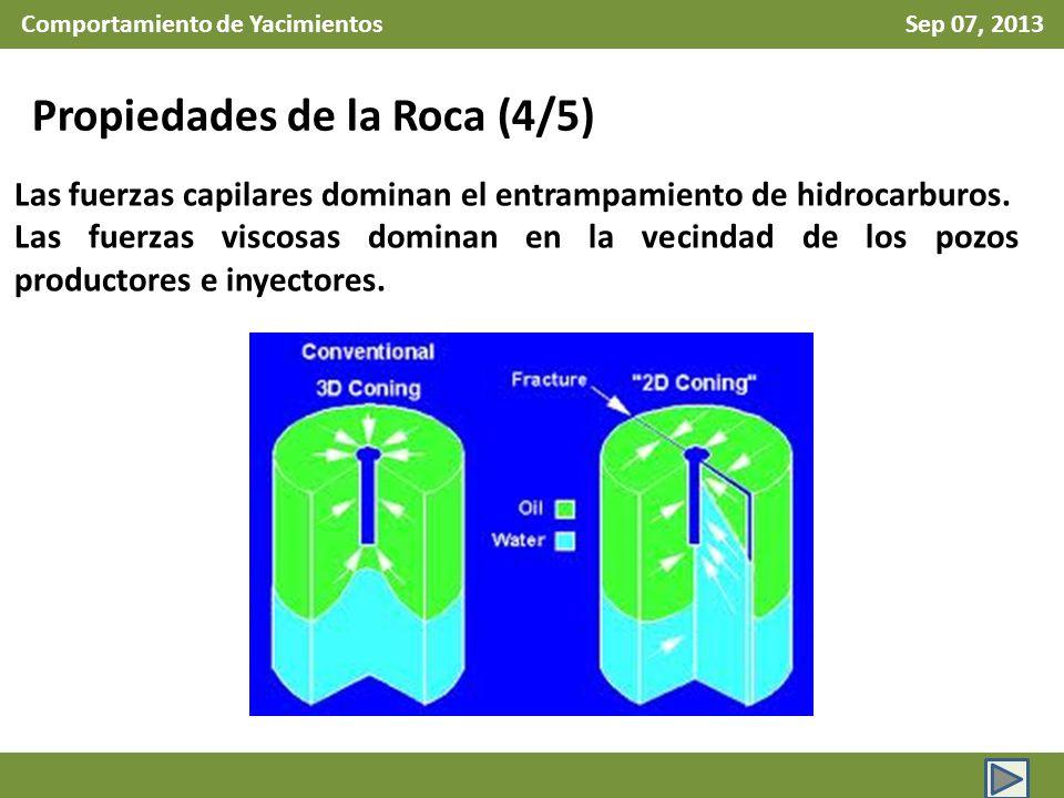 Comportamiento de Yacimientos Sep 07, 2013 Propiedades de la Roca (5/5) Durante la vida productiva del yacimiento, la combinación de estas fuerzas, da como resultado del empuje de los fluidos hacia el pozo.