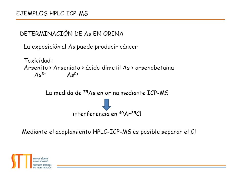 EJEMPLOS HPLC-ICP-MS DETERMINACIÓN DE As EN ORINA La exposición al As puede producir cáncer Toxicidad: Arsenito > Arseniato > ácido dimetil As > arsenobetaina As 3+ As 5+ La medida de 75 As en orina mediante ICP-MS interferencia en 40 Ar 35 Cl Mediante el acoplamiento HPLC-ICP-MS es posible separar el Cl