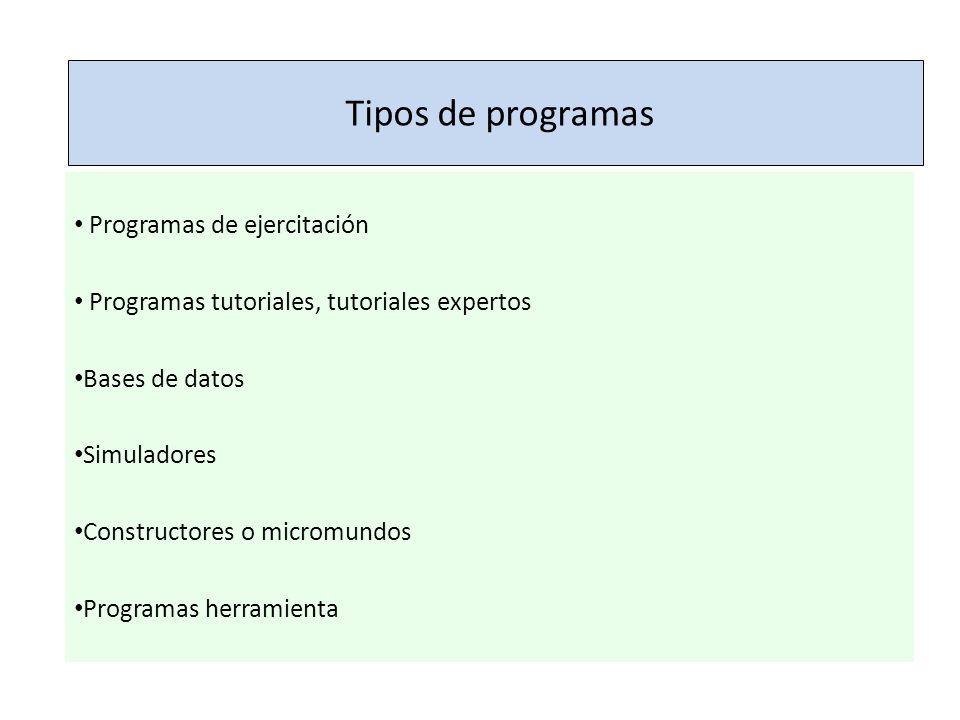 Tipos de programas Programas de ejercitación Programas tutoriales, tutoriales expertos Bases de datos Simuladores Constructores o micromundos Programa