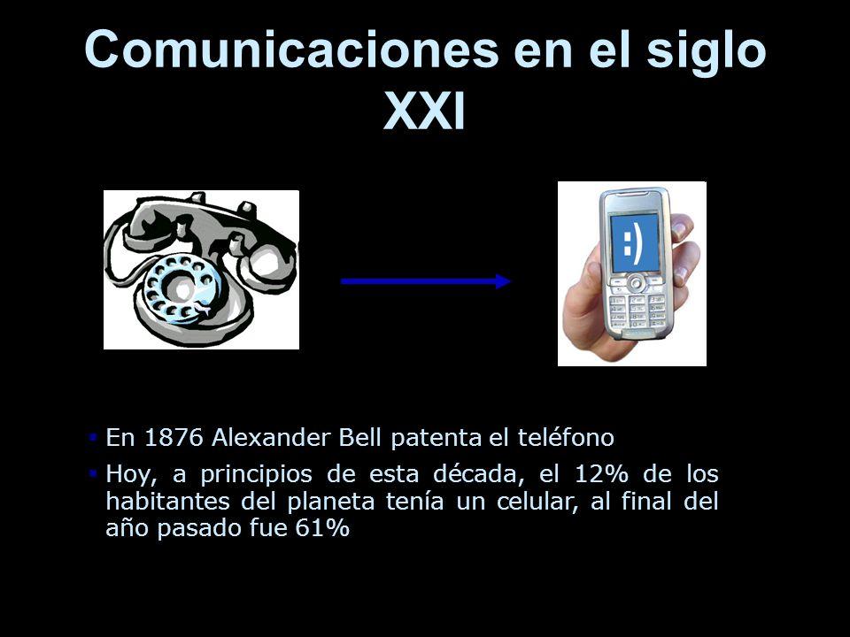 Comunicaciones en el siglo XXI En 1876 Alexander Bell patenta el teléfono Hoy, a principios de esta década, el 12% de los habitantes del planeta tenía un celular, al final del año pasado fue 61%