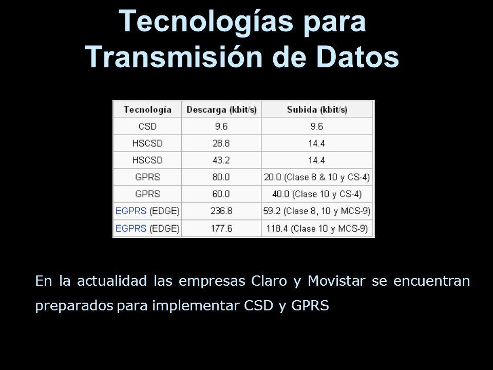 Tecnologías para Transmisión de Datos En la actualidad las empresas Claro y Movistar se encuentran preparados para implementar CSD y GPRS