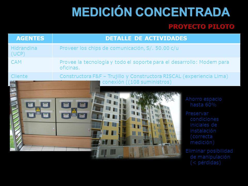 AGENTESDETALLE DE ACTIVIDADES Hidrandina (UCP) Proveer los chips de comunicación, S/.