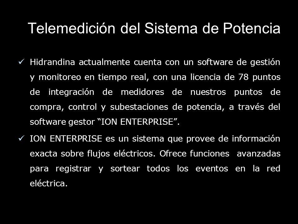Telemedición del Sistema de Potencia Hidrandina actualmente cuenta con un software de gestión y monitoreo en tiempo real, con una licencia de 78 puntos de integración de medidores de nuestros puntos de compra, control y subestaciones de potencia, a través del software gestor ION ENTERPRISE.
