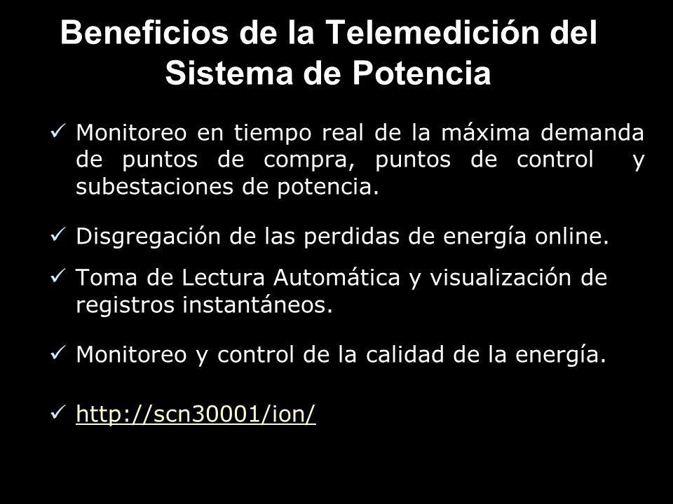 Beneficios de la Telemedición del Sistema de Potencia Monitoreo en tiempo real de la máxima demanda de puntos de compra, puntos de control y subestaciones de potencia.
