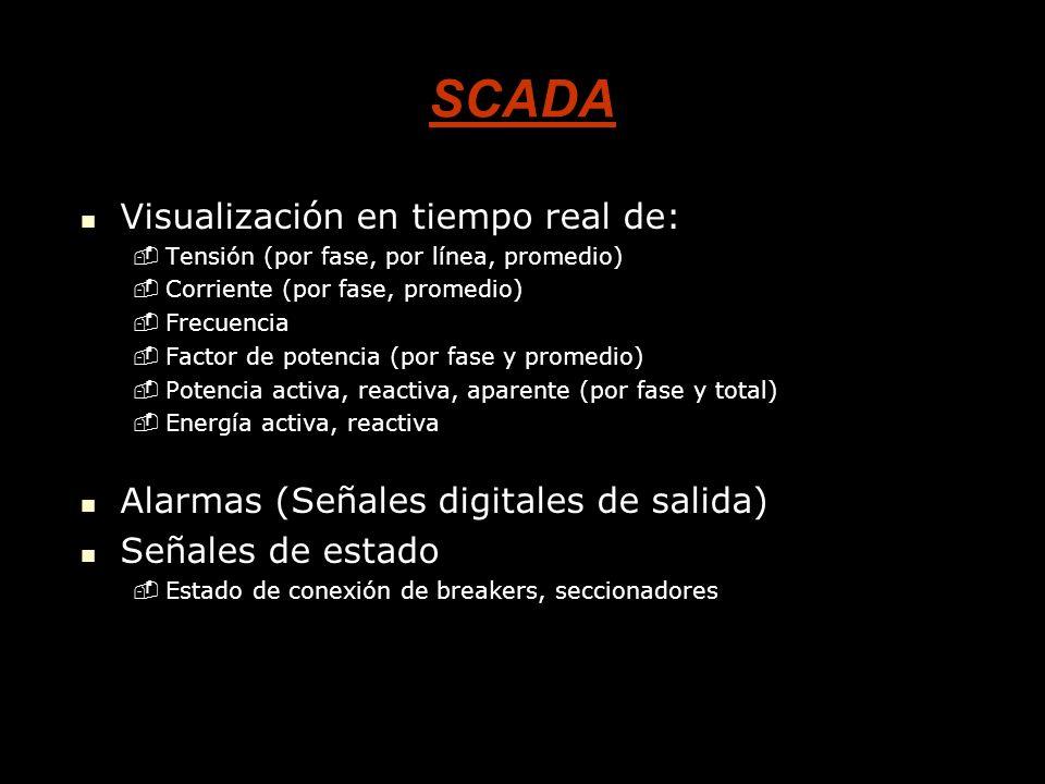 SCADA Visualización en tiempo real de: Visualización en tiempo real de: -Tensión (por fase, por línea, promedio) -Corriente (por fase, promedio) -Frecuencia -Factor de potencia (por fase y promedio) -Potencia activa, reactiva, aparente (por fase y total) -Energía activa, reactiva Alarmas (Señales digitales de salida) Alarmas (Señales digitales de salida) Señales de estado Señales de estado -Estado de conexión de breakers, seccionadores