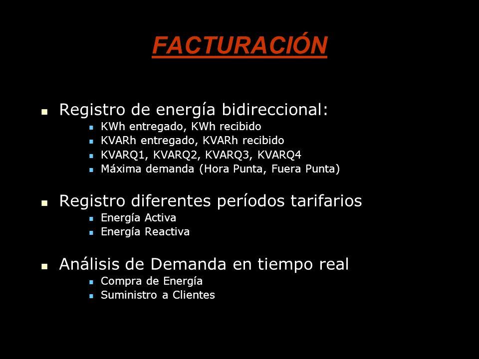 FACTURACIÓN Registro de energía bidireccional: Registro de energía bidireccional: KWh entregado, KWh recibido KWh entregado, KWh recibido KVARh entreg