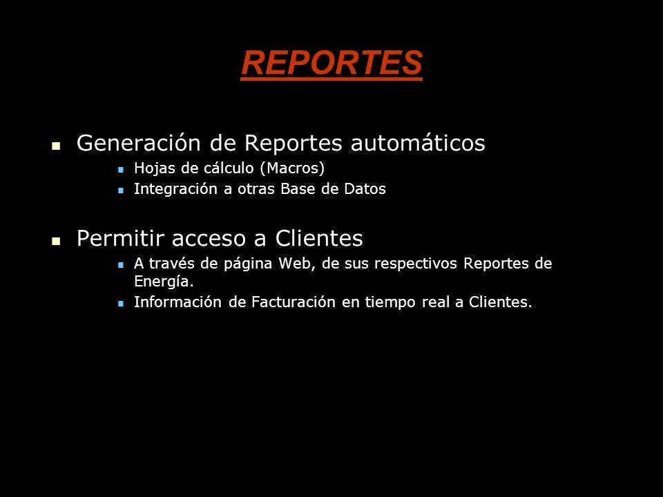 REPORTES Generación de Reportes automáticos Generación de Reportes automáticos Hojas de cálculo (Macros) Hojas de cálculo (Macros) Integración a otras Base de Datos Integración a otras Base de Datos Permitir acceso a Clientes Permitir acceso a Clientes A través de página Web, de sus respectivos Reportes de Energía.
