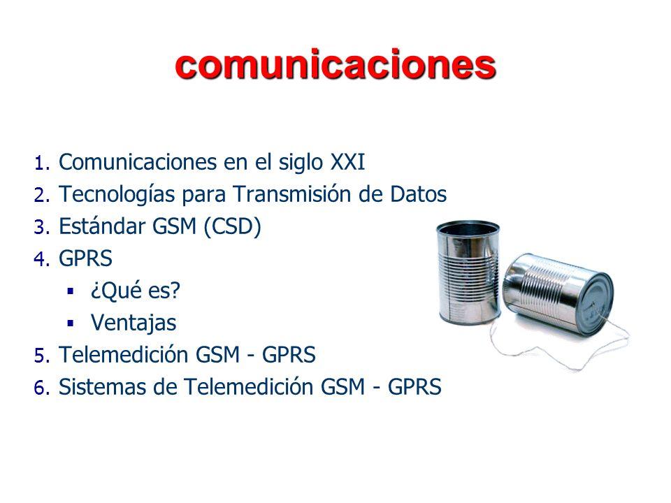 comunicaciones 1. 1. Comunicaciones en el siglo XXI 2. 2. Tecnologías para Transmisión de Datos 3. 3. Estándar GSM (CSD) 4. 4. GPRS ¿Qué es? Ventajas