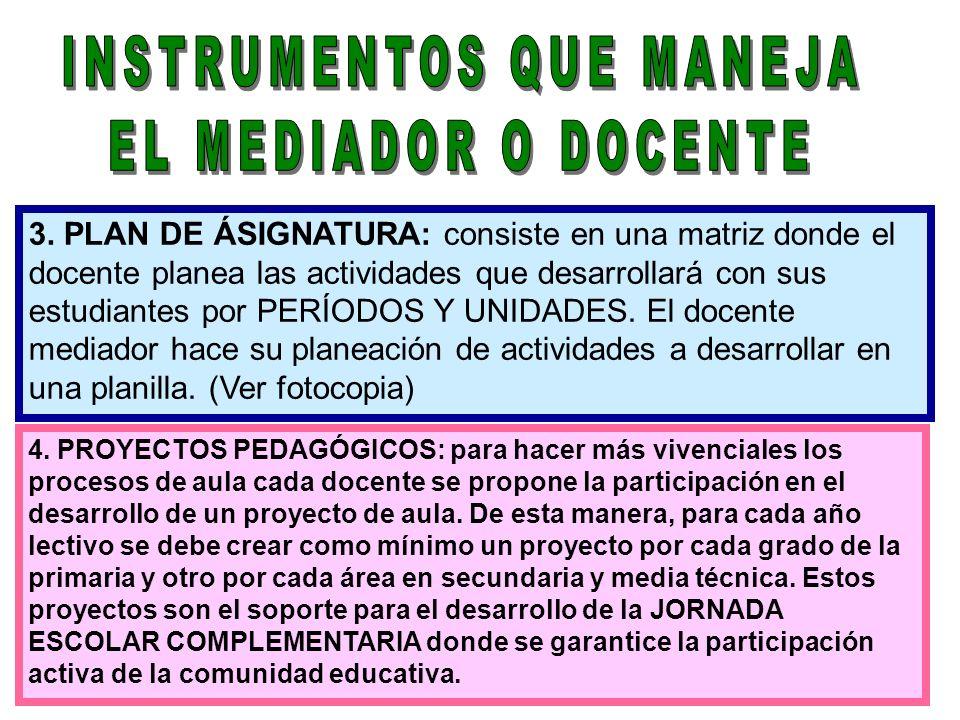 3. PLAN DE ÁSIGNATURA: consiste en una matriz donde el docente planea las actividades que desarrollará con sus estudiantes por PERÍODOS Y UNIDADES. El