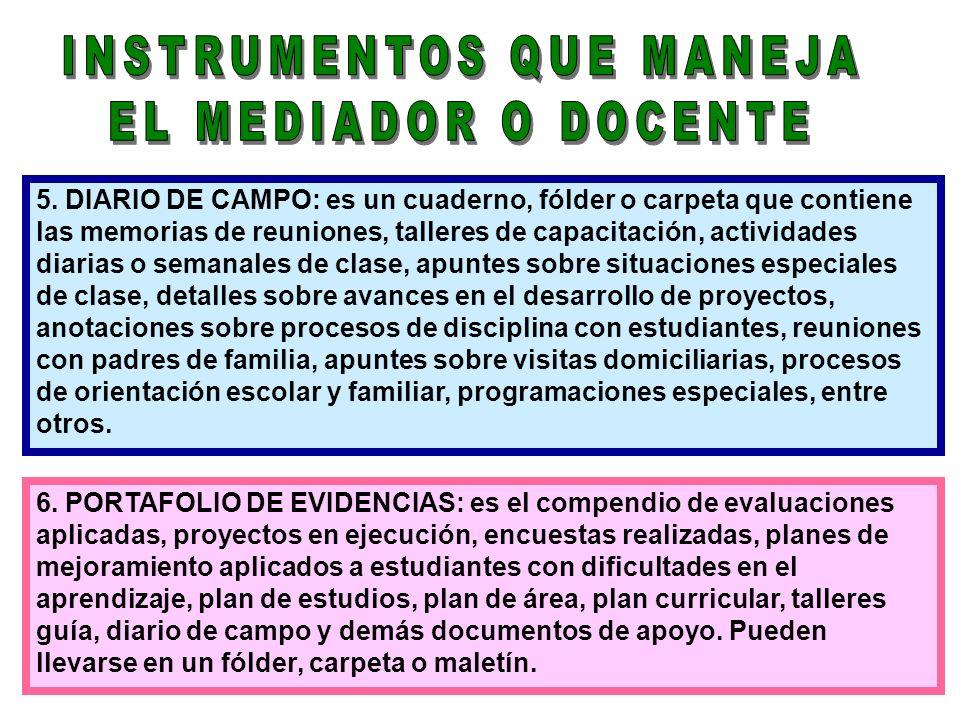 5. DIARIO DE CAMPO: es un cuaderno, fólder o carpeta que contiene las memorias de reuniones, talleres de capacitación, actividades diarias o semanales