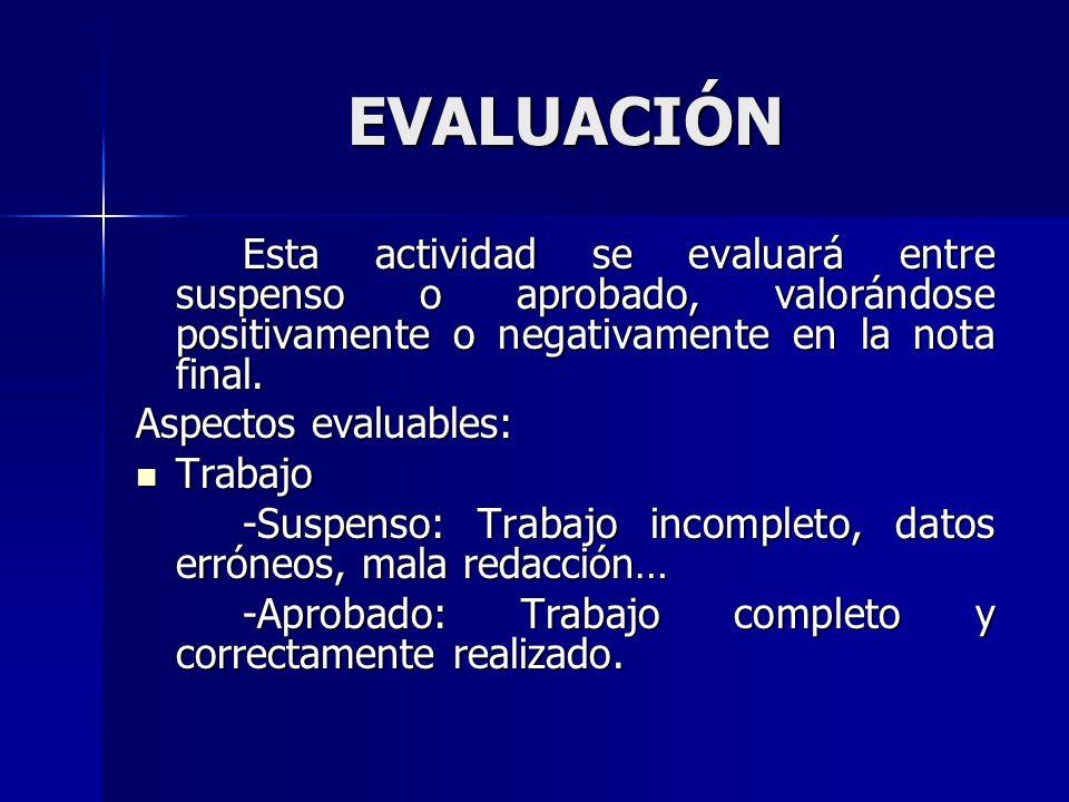 EVALUACIÓN Esta actividad se evaluará entre suspenso o aprobado, valorándose positivamente o negativamente en la nota final. Aspectos evaluables: Trab
