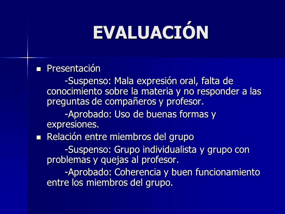 EVALUACIÓN Presentación Presentación -Suspenso: Mala expresión oral, falta de conocimiento sobre la materia y no responder a las preguntas de compañer