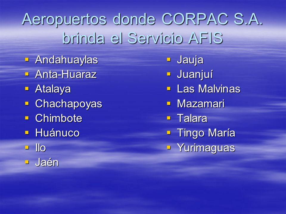 Aeropuertos donde CORPAC S.A. brinda el Servicio AFIS Andahuaylas Andahuaylas Anta-Huaraz Anta-Huaraz Atalaya Atalaya Chachapoyas Chachapoyas Chimbote