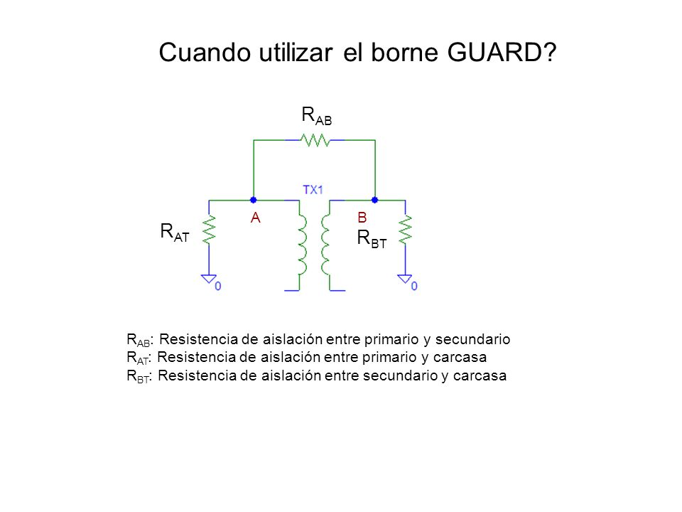 Cuando utilizar el borne GUARD? R AB : Resistencia de aislación entre primario y secundario R AT : Resistencia de aislación entre primario y carcasa R