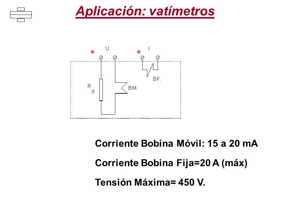 Aplicación: vatímetros ** Corriente Bobina Móvil: 15 a 20 mA Corriente Bobina Fija=20 A (máx) Tensión Máxima= 450 V.