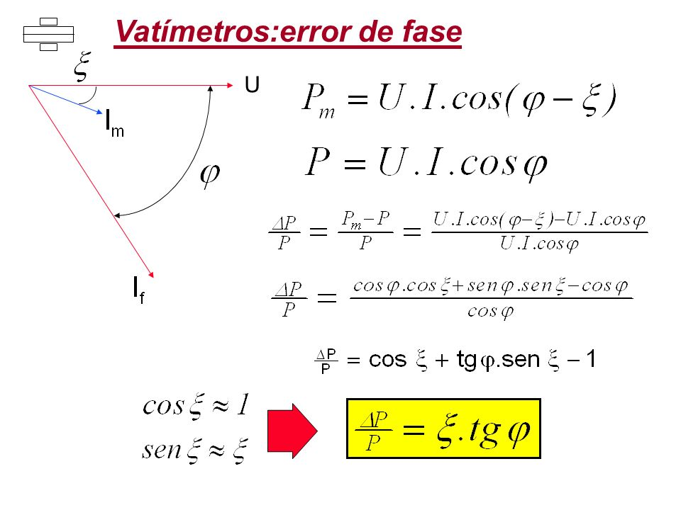 U Vatímetros:error de fase