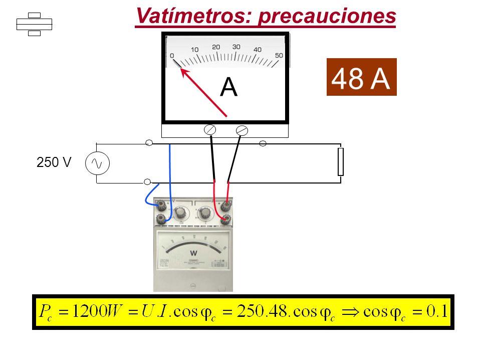 A 48 A 250 V Vatímetros: precauciones