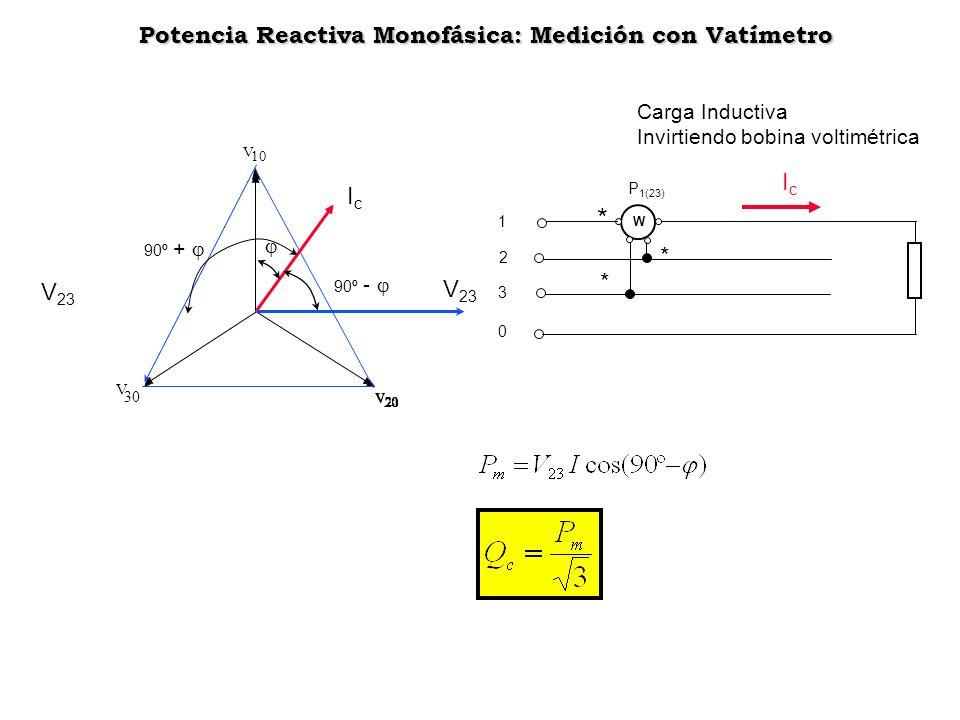 V 10 V 30 V 23 90º - IcIc V 23 90º + W P 1(23) 1 2 3 0 IcIc * * * Potencia Reactiva Monofásica: Medición con Vatímetro Potencia Reactiva Monofásica: M