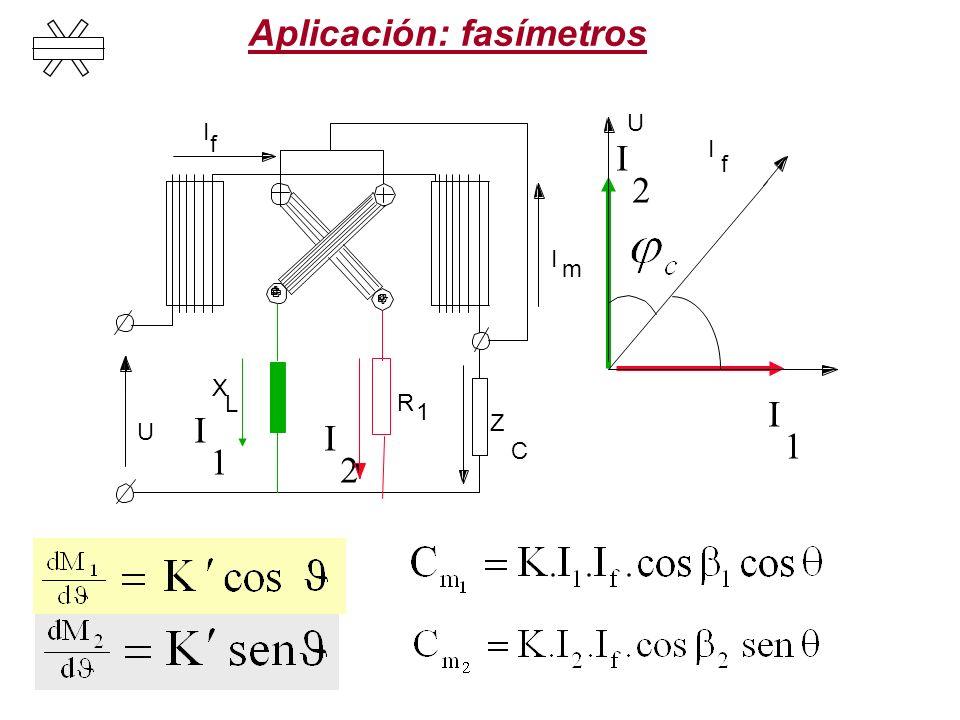 Aplicación: fasímetros I 2 U R 1 X L Z C I m U I f I f I 1 I 2 I 1