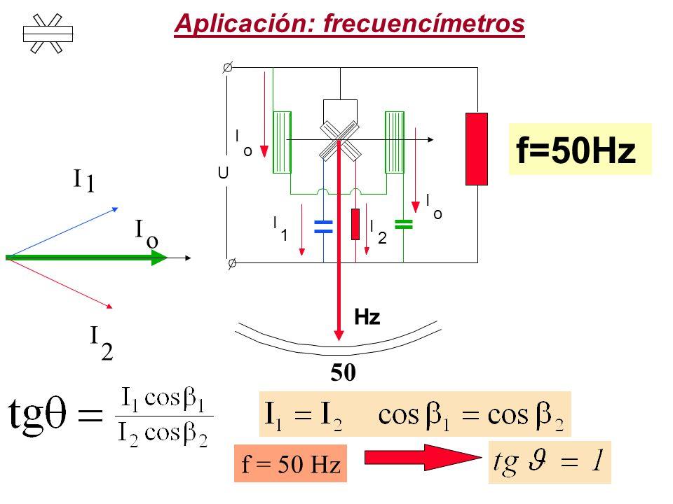 Aplicación: frecuencímetros 50 I I o 1 I 2 f = 50 Hz