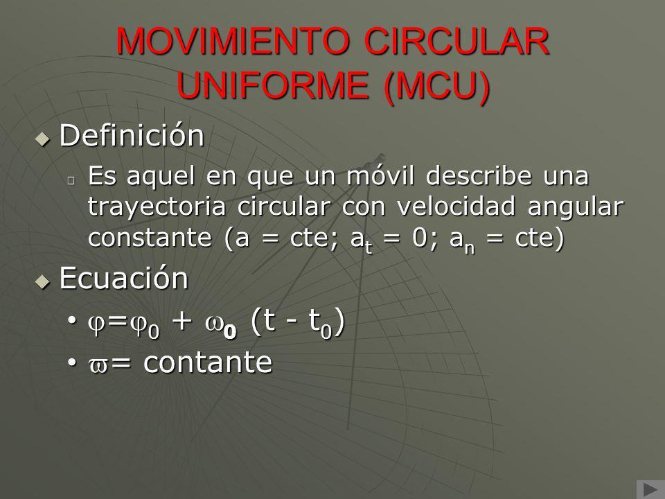 MOVIMIENTO CIRCULAR UNIFORME (MCU) Definición Definición Es aquel en que un móvil describe una trayectoria circular con velocidad angular constante (a