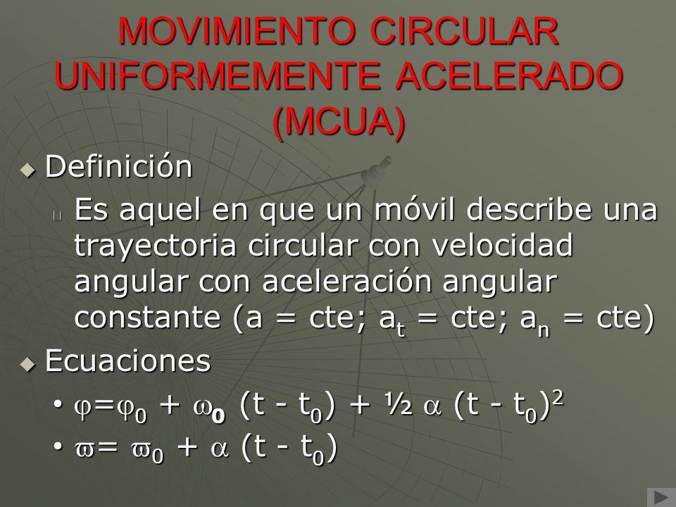 MOVIMIENTO CIRCULAR UNIFORMEMENTE ACELERADO (MCUA) Definición Definición Es aquel en que un móvil describe una trayectoria circular con velocidad angu
