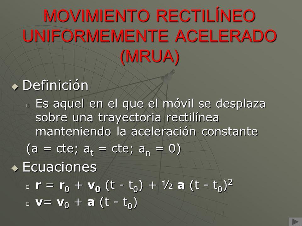 MOVIMIENTO RECTILÍNEO UNIFORMEMENTE ACELERADO (MRUA) Definición Es aquel en el que el móvil se desplaza sobre una trayectoria rectilínea manteniendo l