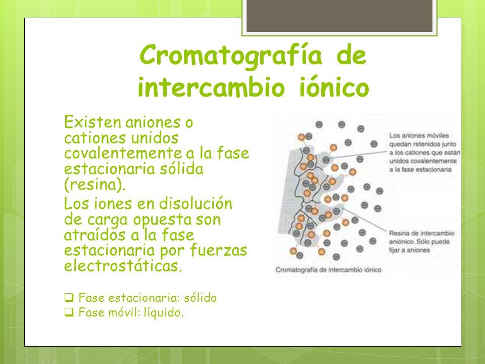 Cromatografía de intercambio iónico Existen aniones o cationes unidos covalentemente a la fase estacionaria sólida (resina). Los iones en disolución d