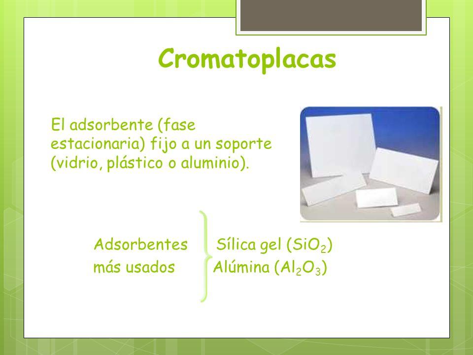 Adsorbentes Sílica gel (SiO 2 ) más usados Alúmina (Al 2 O 3 ) El adsorbente (fase estacionaria) fijo a un soporte (vidrio, plástico o aluminio). Crom