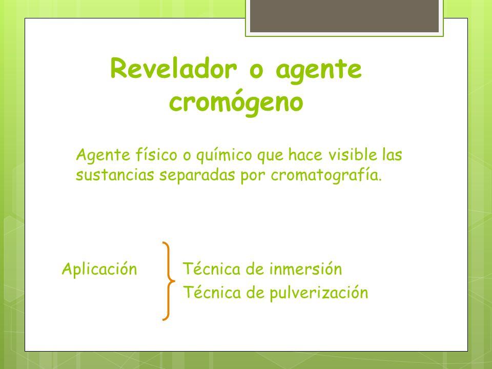 Revelador o agente cromógeno Agente físico o químico que hace visible las sustancias separadas por cromatografía. Aplicación Técnica de inmersión Técn