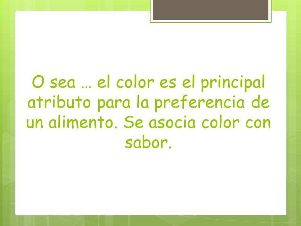 O sea … el color es el principal atributo para la preferencia de un alimento. Se asocia color con sabor.
