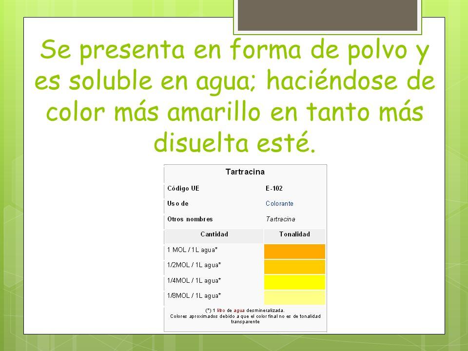 Se presenta en forma de polvo y es soluble en agua; haciéndose de color más amarillo en tanto más disuelta esté.