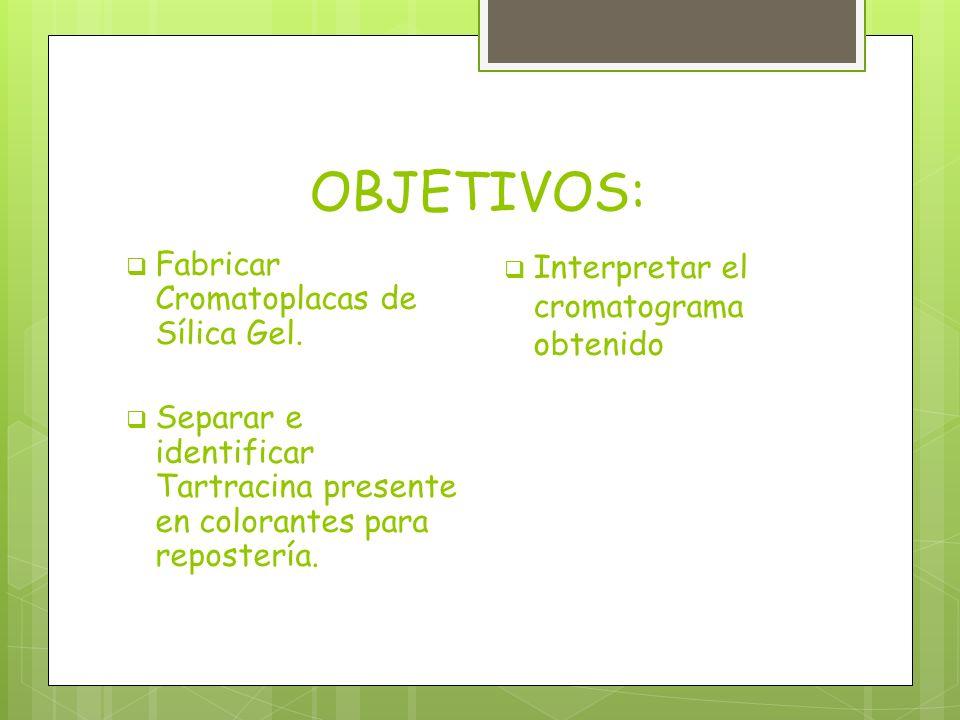 OBJETIVOS: Fabricar Cromatoplacas de Sílica Gel. Separar e identificar Tartracina presente en colorantes para repostería. Interpretar el cromatograma