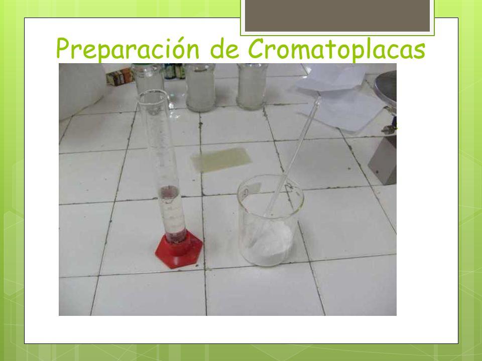 Preparación de Cromatoplacas (primera parte) Masar 30 g de sílica gel y 9 g de Sulfato de calcio. Medir 60 mL de agua. Verter todo en un vaso de bohem