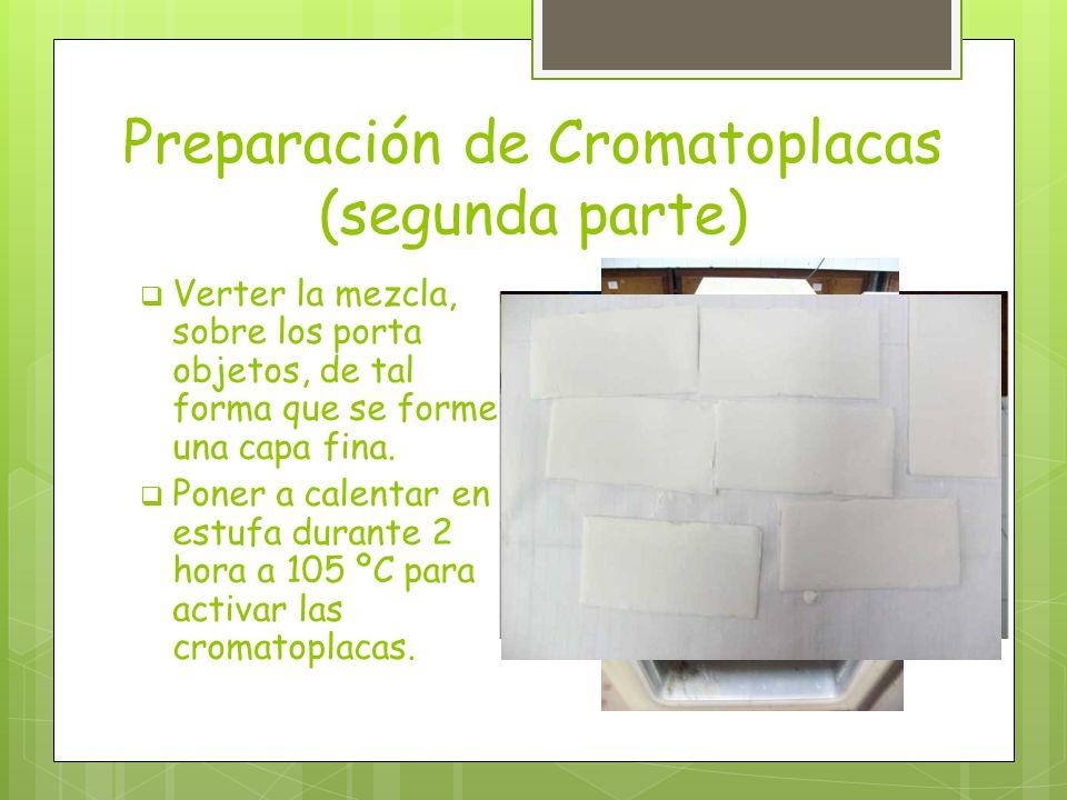 Preparación de Cromatoplacas (segunda parte) Verter la mezcla, sobre los porta objetos, de tal forma que se forme una capa fina. Poner a calentar en e