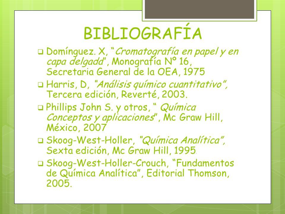 BIBLIOGRAFÍA Domínguez. X, Cromatografía en papel y en capa delgada, Monografía Nº 16, Secretaria General de la OEA, 1975 Harris, D, Análisis químico