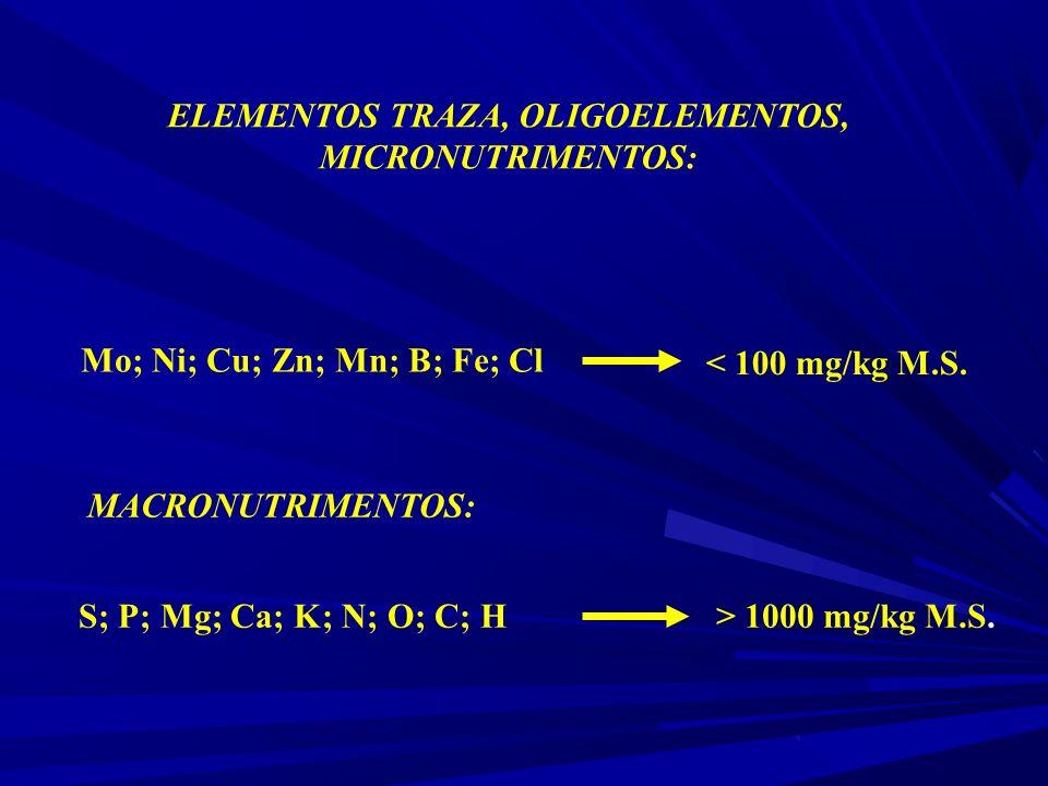 Mo; Ni; Cu; Zn; Mn; B; Fe; Cl < 100 mg/kg M.S. S; P; Mg; Ca; K; N; O; C; H> 1000 mg/kg M.S.