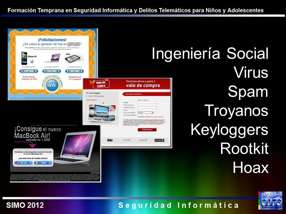 Ingeniería Social Virus Spam Troyanos Keyloggers Rootkit Hoax