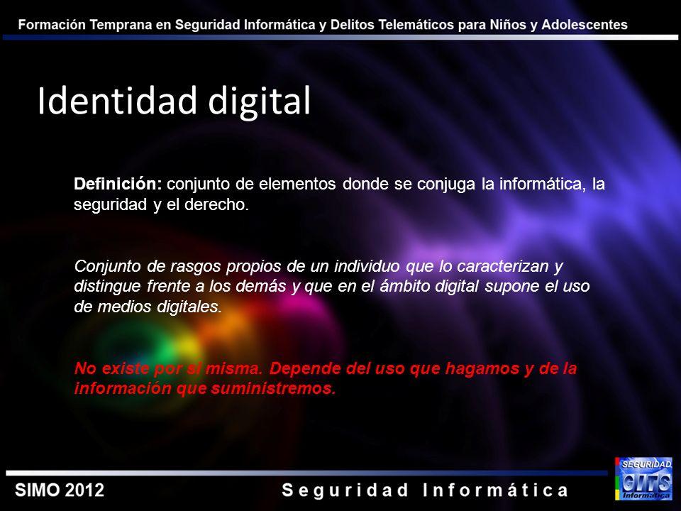 Identidad digital Definición: conjunto de elementos donde se conjuga la informática, la seguridad y el derecho. Conjunto de rasgos propios de un indiv