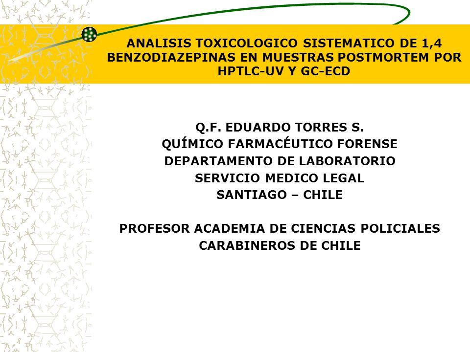 ANALISIS TOXICOLOGICO SISTEMATICO DE 1,4 BENZODIAZEPINAS EN MUESTRAS POSTMORTEM POR HPTLC-UV Y GC-ECD Q.F. EDUARDO TORRES S. QUÍMICO FARMACÉUTICO FORE