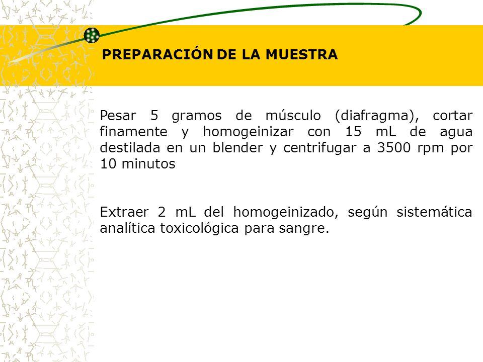 PREPARACIÓN DE LA MUESTRA Pesar 5 gramos de músculo (diafragma), cortar finamente y homogeinizar con 15 mL de agua destilada en un blender y centrifug
