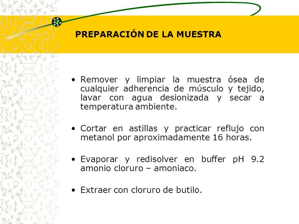 PREPARACIÓN DE LA MUESTRA Remover y limpiar la muestra ósea de cualquier adherencia de músculo y tejido, lavar con agua desionizada y secar a temperat