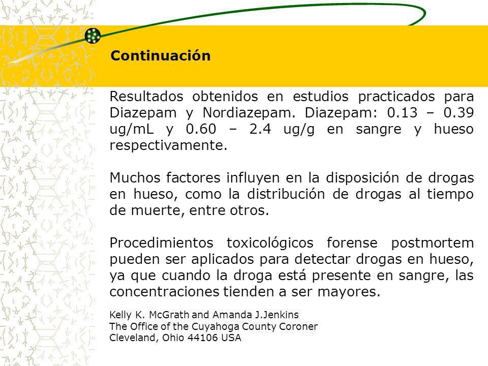 Resultados obtenidos en estudios practicados para Diazepam y Nordiazepam. Diazepam: 0.13 – 0.39 ug/mL y 0.60 – 2.4 ug/g en sangre y hueso respectivame