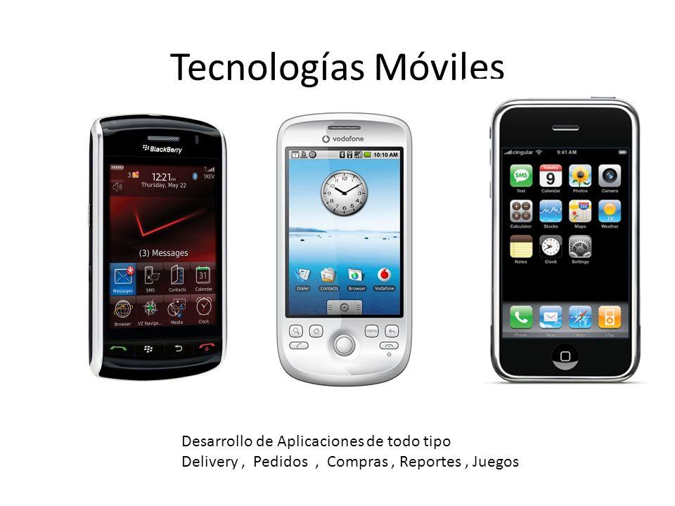 Tecnologías Móviles Desarrollo de Aplicaciones de todo tipo Delivery, Pedidos, Compras, Reportes, Juegos