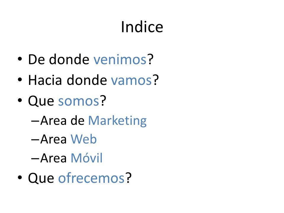 Indice De donde venimos? Hacia donde vamos? Que somos? – Area de Marketing – Area Web – Area Móvil Que ofrecemos?
