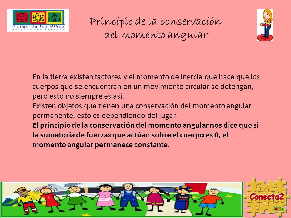 Principio de la conservación del momento angular En la tierra existen factores y el momento de inercia que hace que los cuerpos que se encuentran en u