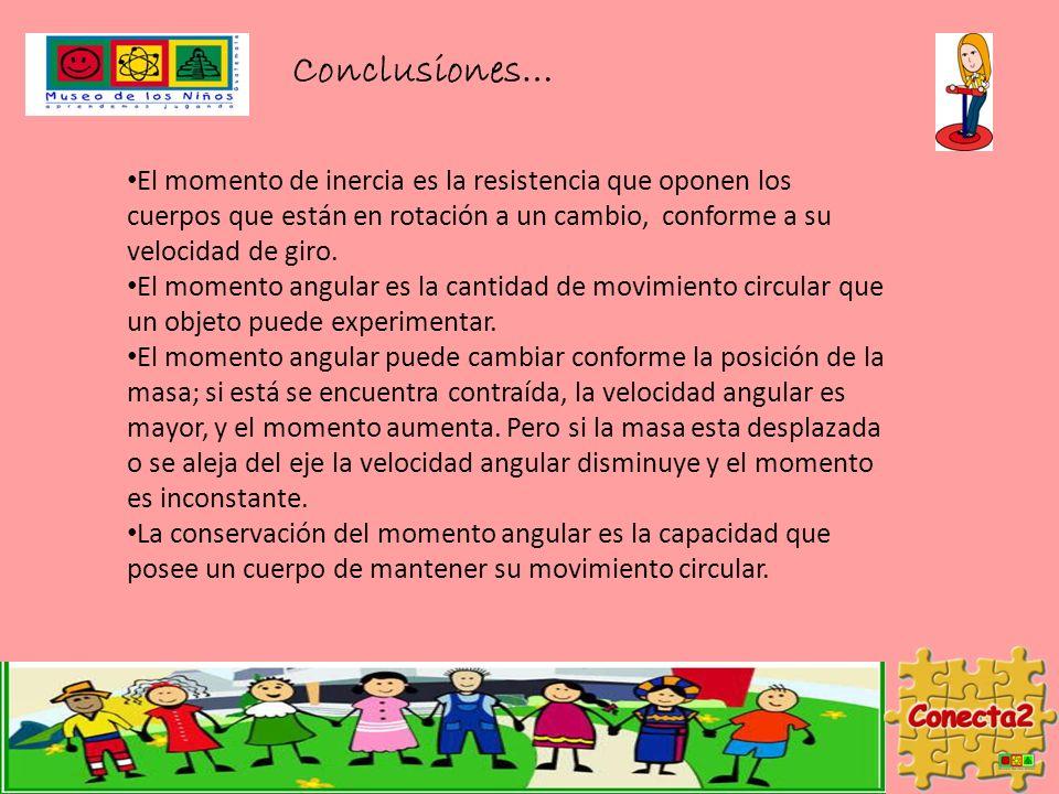 Conclusiones… El momento de inercia es la resistencia que oponen los cuerpos que están en rotación a un cambio, conforme a su velocidad de giro.