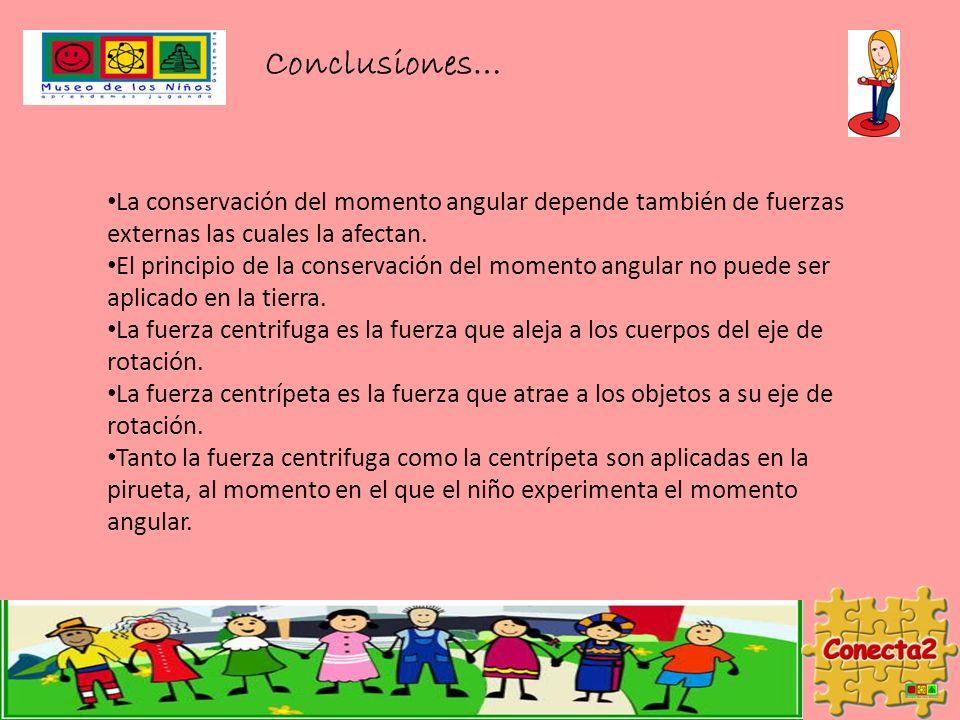 Conclusiones… La conservación del momento angular depende también de fuerzas externas las cuales la afectan. El principio de la conservación del momen