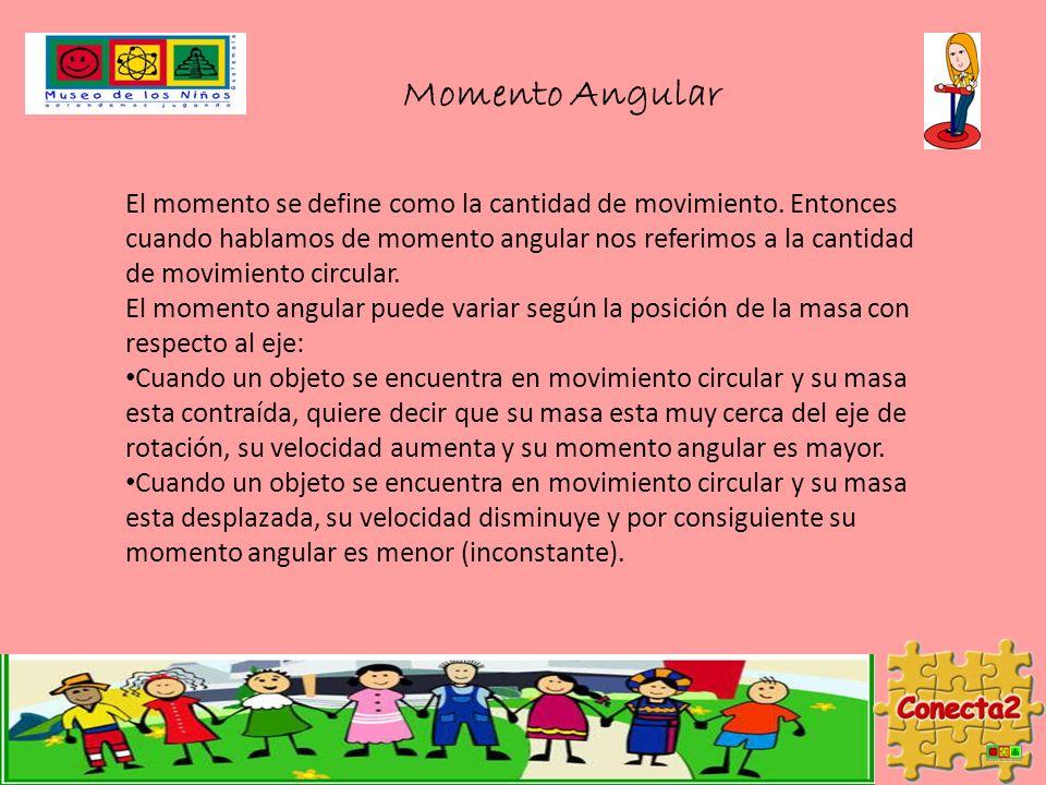 Momento Angular El momento se define como la cantidad de movimiento. Entonces cuando hablamos de momento angular nos referimos a la cantidad de movimi