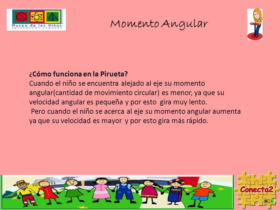 ¿ Cómo funciona en la Pirueta? Cuando el niño se encuentra alejado al eje su momento angular(cantidad de movimiento circular) es menor, ya que su velo